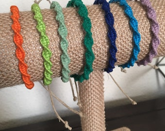 Spiral Knot Hemp Bracelet - Men and Women - 7 Colors Available