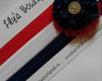Patriotic hair clip, headband set- Newborn, Infant, Toddler