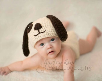 Puppy dog baby boy or girl photo prop. Crocheted