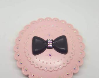 Eyelash Holder (3 pairs) Pink with AB crystal accents Mirror