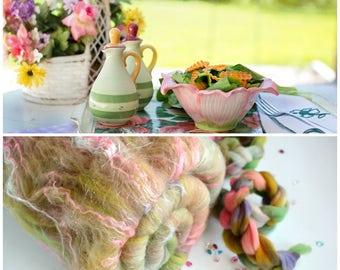 PICNIC - Spinning batt - 21 micron Merino wool - Tussah Silk - Angelina - Pink Violet - 100g - 3.5oz