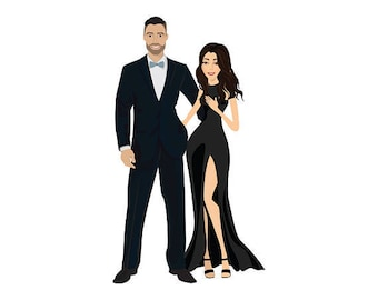 Illustrated Couple Portraits (Digital File)| Anniversary | Personalised Gift | Wedding Gift | Gifts For Couples | Couple Illustration