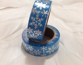 Gorgeous Blue with Silver Winter Wonderland Snowflake Washi Tape - 6 metre roll