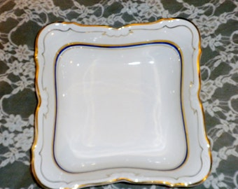 Vintage Wakbrzych Polish serving dish White, cobalt blue, gold trim