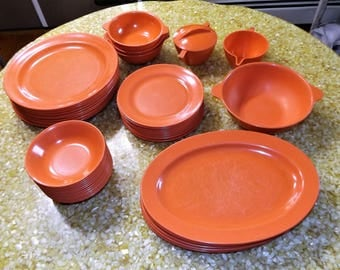 Retro Mallo-Ware 47 Piece Table Setting, Midcentury Coral or Salmon Color Melamine