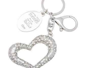 Porte clé bijoux de sac coeur gravé avec votre texte et prénom