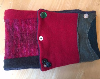 Original Handmade Neck Warmer Scarf Made From Up-Cycled Cashmere Wool And 100% Merino Wool, Decorated With Vintage Buttons