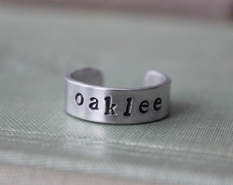 Customizable Personalized Handstamped Silver Adjustable Ring