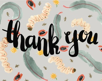 Discounted Thank You Australian Grubs Recycled Greeting Card