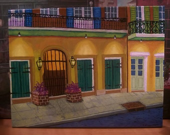 "New Orleans Art//French Quarter//Acrylic & Mixed Media//""Quarter Nocturne""//Original One-Of-A-Kind Painting by Artist"