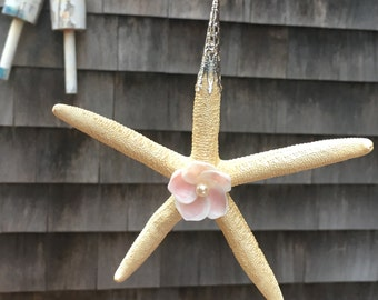 Beach Christmas Ornament, Starfish & Seashell Ornament, Coastal Christmas Ornament, Nautical Christmas Ornament