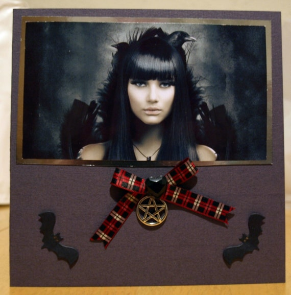 Gothic Handmade Greetings Card - birthday luxury personalised unique quality special vampire twilight fantasy UK