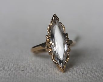 10k Cubic Zirconia Marquise Shape Filigree Vintage Ring