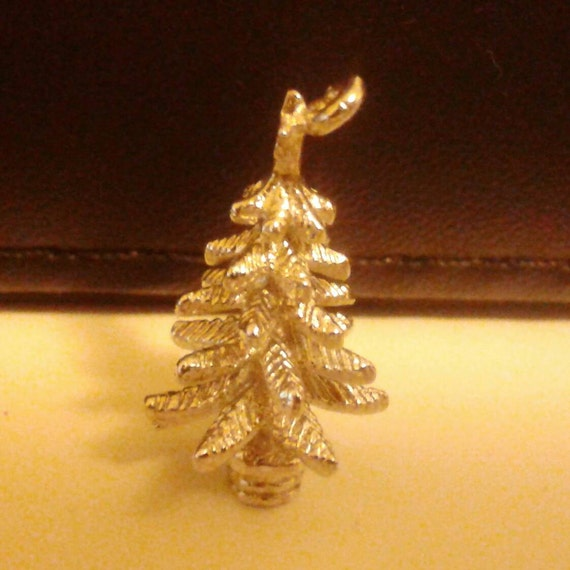 Vintage Christmas Tree charm pendant sterling silver. Great for bracelet or necklace.