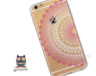 Mandala Design Pink White Geometric Henna Design Print Soft Clear Case Silicone Phone Case iPhone 6 iPhone 7 iPhone 6s iPhone 7 plus Cases