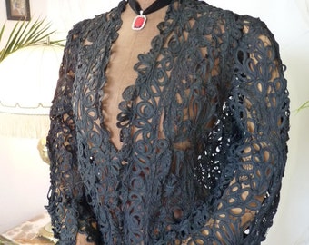 1908 Black Battenburg Lace Coat, Edwardian Dress, Antique Gown, Antique Dress, Antique Coat