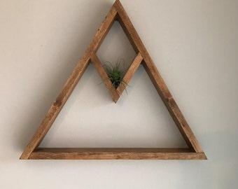 Wooden Triangle Diamond Shelf| Decorative Shelf