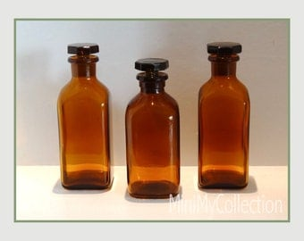 Vintage Amber French Pharmaceutical Bottles with stoppers - priced individually -