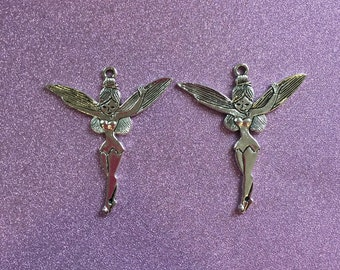 2 large Silvertone Fairy Charms
