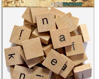 Bottle Cap Inc - Wood Alphabet Tiles - 40 Lower Case Alphabet Tiles