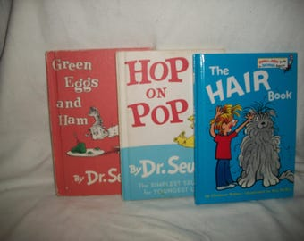Three Vintage Dr Seuss Books, Hop on Pop, Green Eggs and Ham, The Hair Book