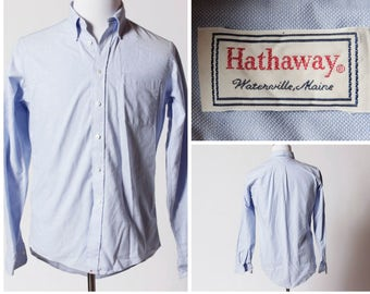 Vintage Men's Hathaway Shirt - 90's Retro 15.5 Neck 35 Medium M Long Sleeve Button Down Pinpoint Regency Oxford Dress Shirt Blue Made in USA