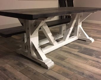 Farmhouse Dining Table // Knotty Alder // Rustic // Distressed // RH Inspired