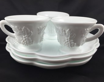 Milk glass snack set
