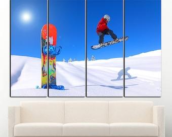 Snowboard wall art Snowboard wall decor Snowboard  canvas print Snow Winter Sport Wall Art Winter Sport wall decor Large Canvas Print Decor