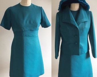 Vintage Peggy French Couture Teal Green Dress Suit - UK Size 12/US Size 8