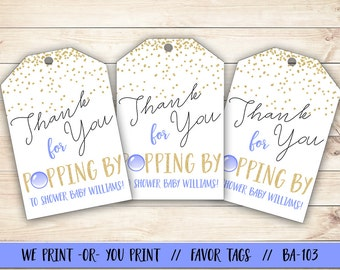 Ready to Pop Favor Tag, Ready to Pop Baby Shower, Blue Ready to Pop Gift Tag, Boy Baby Shower Tag, Baby Shower Favor Tag
