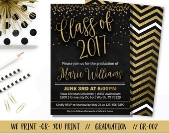 Graduation Invitation, Graduation Invite, Graduation Party Invitation, Gold Graduation Invitation, Confetti Graduation Invitation,