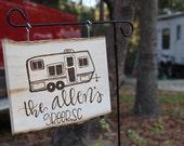 Campsite wood burned sign, happy camper, camping, campsite, wood burned, hand lettered, calligraphy, camper, name sign