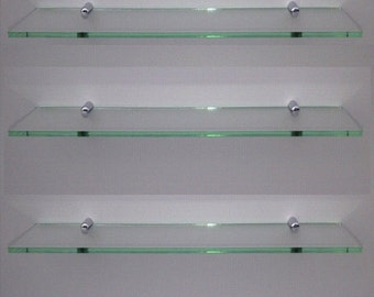 Glass effect acrylic shelf with silver fitting modern shelving large shelving