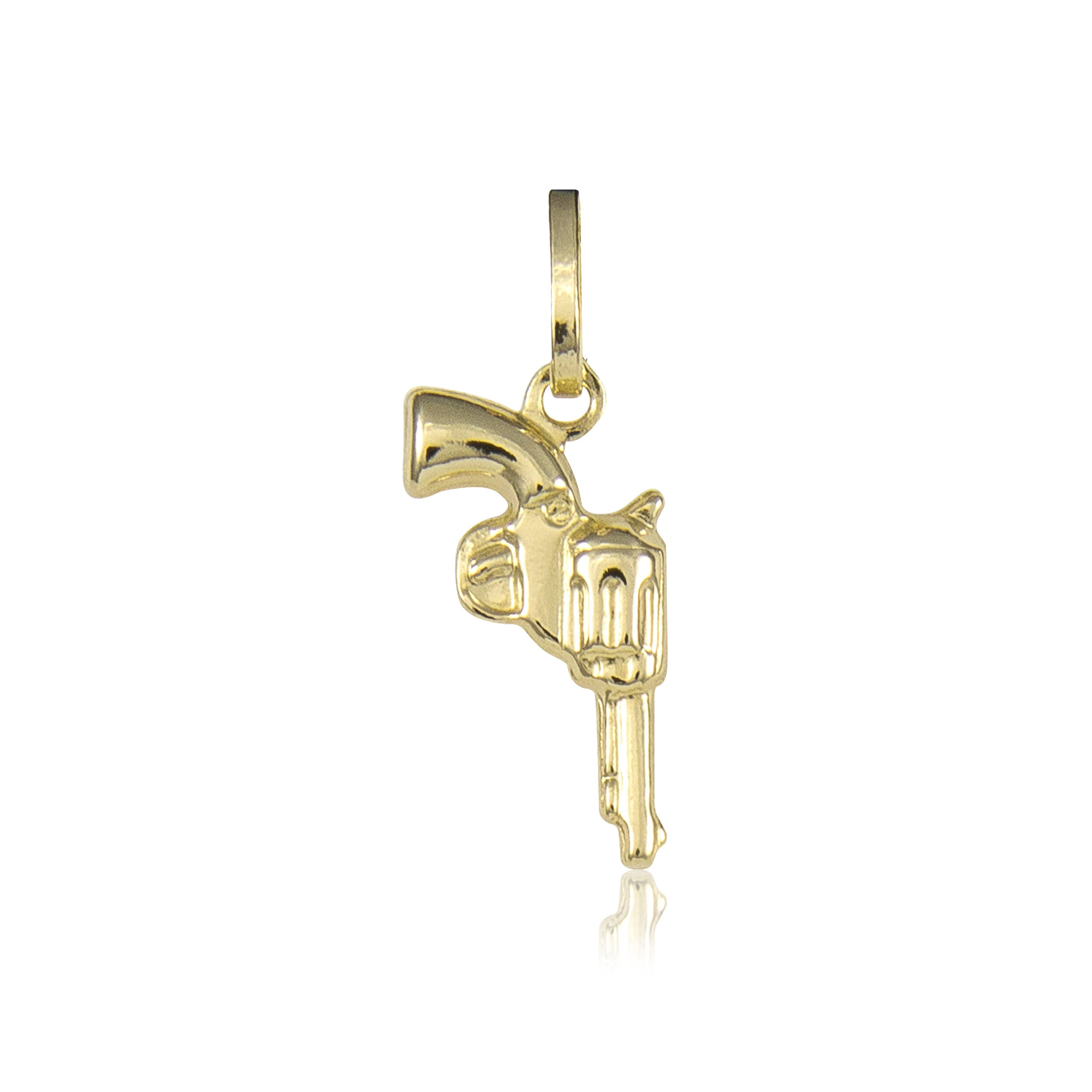 14k yellow gold pistol gun pendant revolver hand polished 14k yellow gold pistol gun pendant revolver hand polished necklace charm aloadofball Image collections