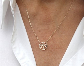 750 thousandth 3 microns tree of life gold plated necklace