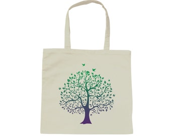 Tote bag bag tree of life - white cotton - natural and Zen