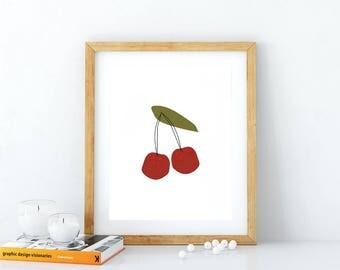 Cherry print, 8 x 10 art print, kitchen fruit art, home decor, retro wall art, retro fruit illustration