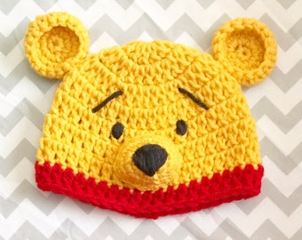 Winnie The Pooh Crochet Hat, Photo Props, Crochet beanie, baby shower gift