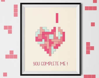 You complete me ! , printable art, love print, heart print, Love quote, romantic art, wall art, valentine's day gift, amour, digital print