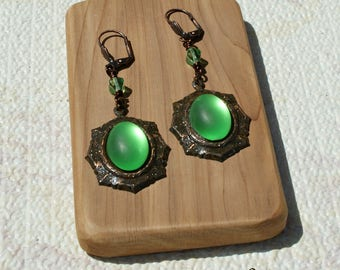 Rusted Iron Green Moonstone Earrings