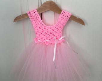 Handmade crochet tutu dress, 0-3 months - ready to ship - perfect photo prop, coming home outfit