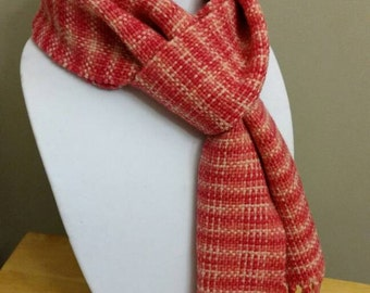 Candy Pink Handwoven Scarf Warm Wool Plaid