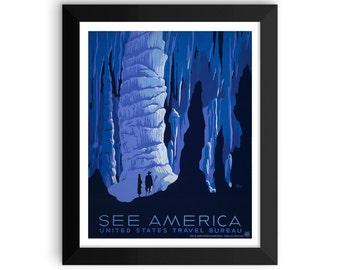 vintage SEE AMERICA poster | national parks poster | vintage poster | caverns | WPA poster | vintage print | framed poster | outdoors poster