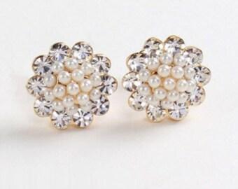 Romantic Earring Crstal Stimulated Pearl Earring ROUND Stud Earrings BEAUTIFUL 1.2x1.2 cm