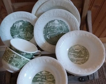 Pastoral pattern by Homer Laughlin dishes.  Green and white transferware.