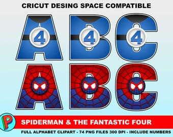 Spiderman and The Fantastic Four - Full Alphabet Clipart - 74 png files 300 dpi - Super Hero Alphabet