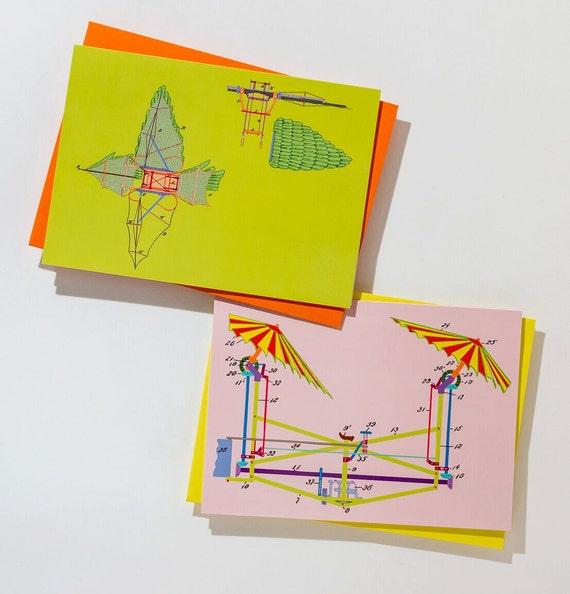 Set of Six Flying Machine Cards, sprk.plug image Greeting Cards