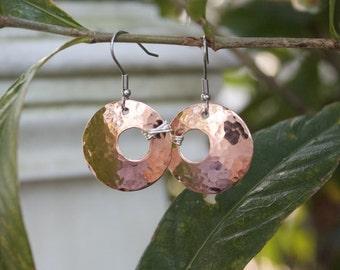 Copper and silver earrings, hammered copper earrings, sterling silver, surgical steel earrings, hypoallergenic earrings, sensitive ears