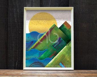 West Coast Sunset, Mountain Art Print